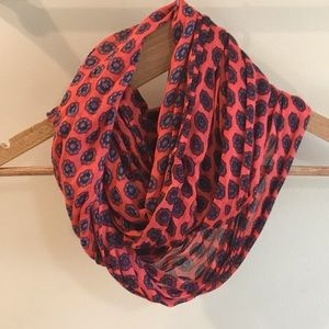 Orange and Navy Medallion J Crew Factory Scarf